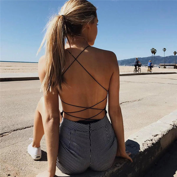 Backless Crisscross Solid Strap Romper Jumpsuit Bodysuit