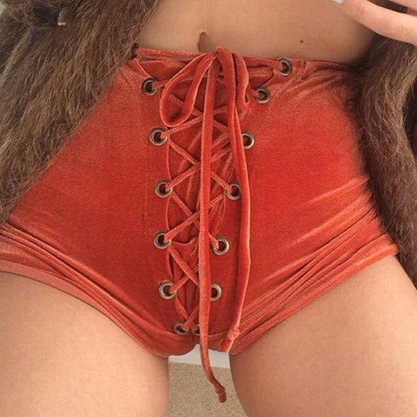 Edgy Sexy Fashion Crisscross Strappy Solid Tight Shorts