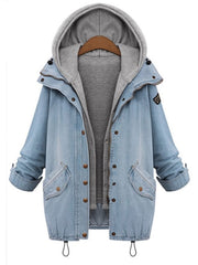 Fashion Button Denim Long Sleeve Hooded Cardigan Jacket Vest Set Two-Piece