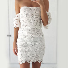 Sexy Lace Strapless Crochet Bodycon Dress