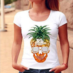 Edgy Fashion Pineapple Print Short Sleeve Shirt Top Tee