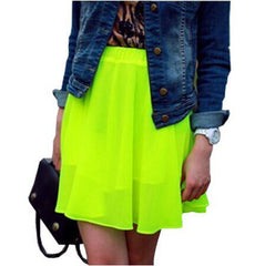 Casual Solid Color Chiffon Skirts
