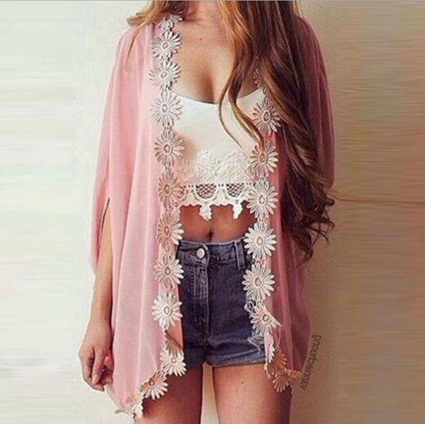 Fashion chiffon lace Cardigan Tops Coat