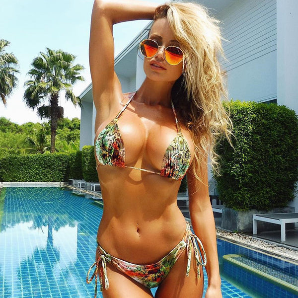 Print Snakeskin Pattern Halter Fashion Bikini Set Swimsuit Swimwear