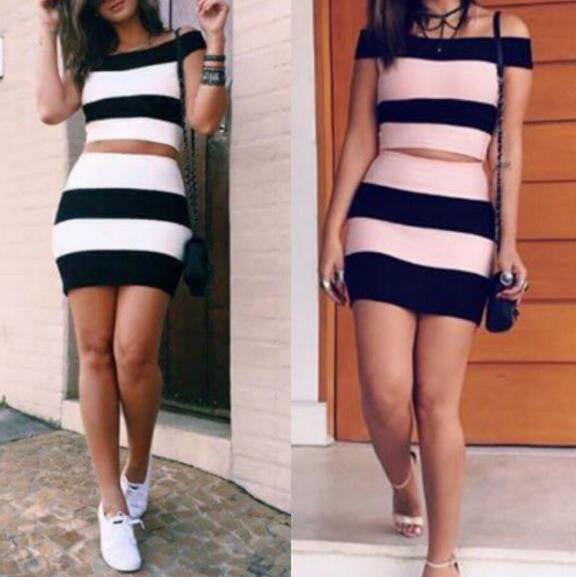 Sexy Bodycon Fashion Stripe Two-Piece