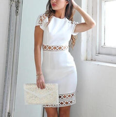 Hollow Out Round Neck Sexy Bandage Dress