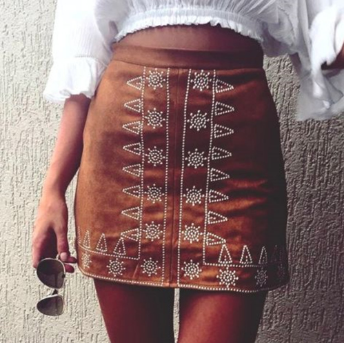 Sexy Edgy Embroidery Flower Tight High Waist Skirt
