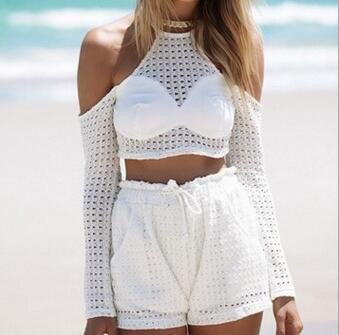 Sexy Strap Long  Sleeve Casual Two-Piece