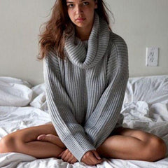 Solid long-sleeved knit Pullovers Tops Sweater