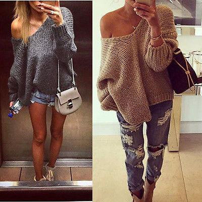 Loose V-Neck Off Shoulder Top Sweater Pullover Knitwear