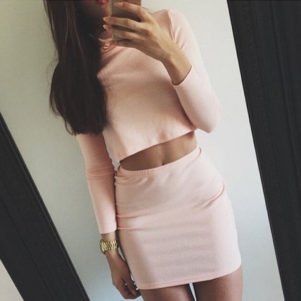 Sexy Solid Color Knit Long Sleeve Leaky belly button Top Sweater Skirt Set Two-Piece