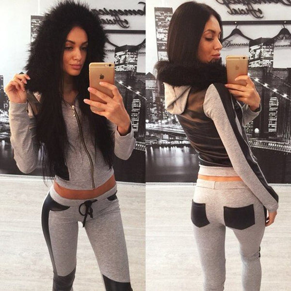Sexy Leaky belly button Multicolor Hoodie Sweatshirt Pants Sweatpants Set Two-Piece Sportswear