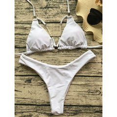 Halter Pearl Solid Beach Bikini Set Swimsuit Swimwear