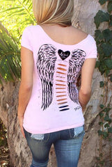 Hollow Out Angel Wings Short Sleeve Shirt Blouse Tops