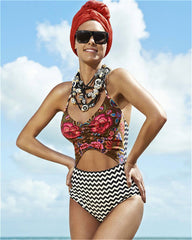 High Waist Print Stripe One Piece Swimwear Bikini Swimsuit