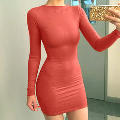 Fashion Solid Color Long Sleeve Bodycon Mini Dress