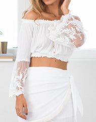 Sexy Strapless Lace Trumpet Sleeve Shirt Blouse Tops