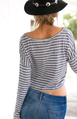 Stripe Round Neck Long Sleeve Shirt Blouse Tops