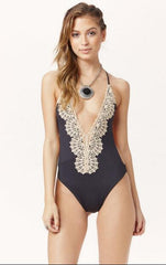 Deep V Sexy Lace One Piece Swimsuit Swimwear
