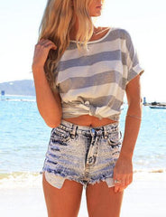 Scoop Neck Loose Short Sleeve Striped Shirt Top Tee