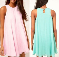 Fashion Candy Color Chiffon Sleeveless Dress