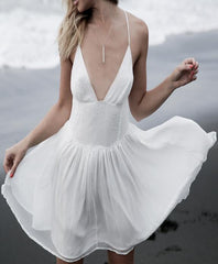 Solid Color V-Neck White Sling Dress