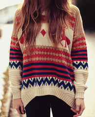 Loose striped deer Knitwear Pullovers Tops sweater