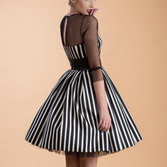 Fashion Gauze Stripe Long Sleeve Dress