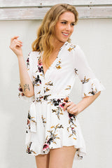 High Waist Print Fashion V-Neck Romper Jumpsuit