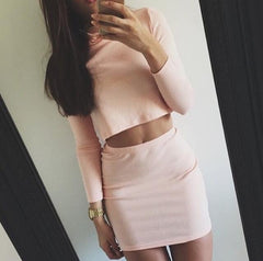 Sexy Solid Color High Collar Two-Piece