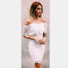 Solid Color Lace Strapless Bodycon Dress
