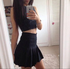 Retro High Waist Pleated Skirts