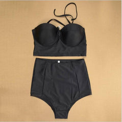 Fashion Solid Color High Waist Beach Bikini Swimsuit Swimwear