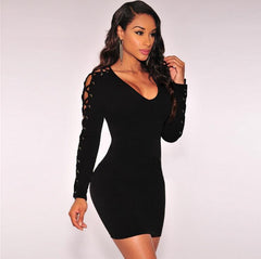 V-Neck Bodycon Hollow Out Dress