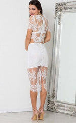 Sexy Lace Hollow Out Two-Piece Dress