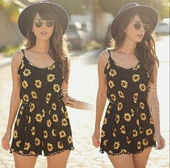 Sunflower Flowers Beach Rompers Jumpsuit
