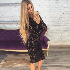 Edgy Fashion Embroidery Lace Up Long Sleeve Bodycon Mini Dress