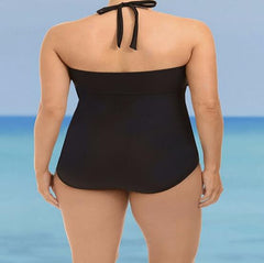 Fat Woman Hollow Halter Beach One Piece Swimwear Bikini Swimsuit