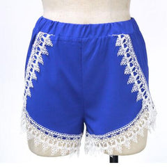 Fashion Lace Solid Color Casual Shorts Pants