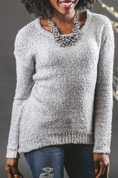 Casual Solid Color Scoop Neck  Slim Fit Top Sweater Pullover Knitwear