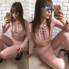 Sexy Drawstring  Long Sleeve Set Two-Piece