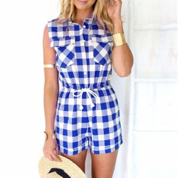 Fashion Tartan Sleeveless Romper jumpsuit