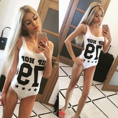 Fashion Letter Print Tight One Piece Swimsuit Swimwear