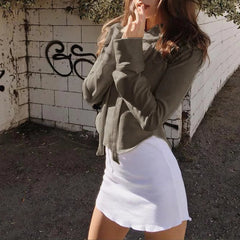 Fashion Solid Color Long Sleeve Top Sweater Hoodie