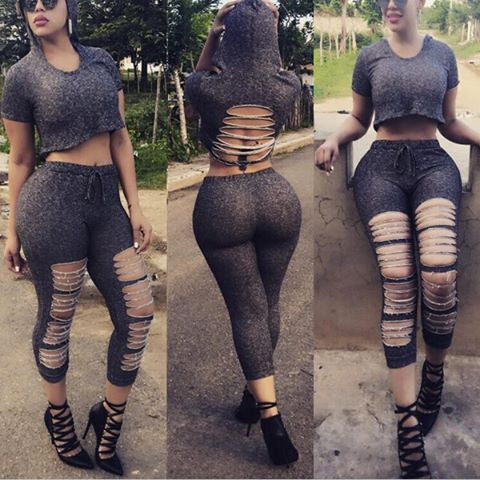 Sexy Short Sleeve Ripped Hollow Split Leaky belly button Shirt Top Pants Trousers Set Two-Piece