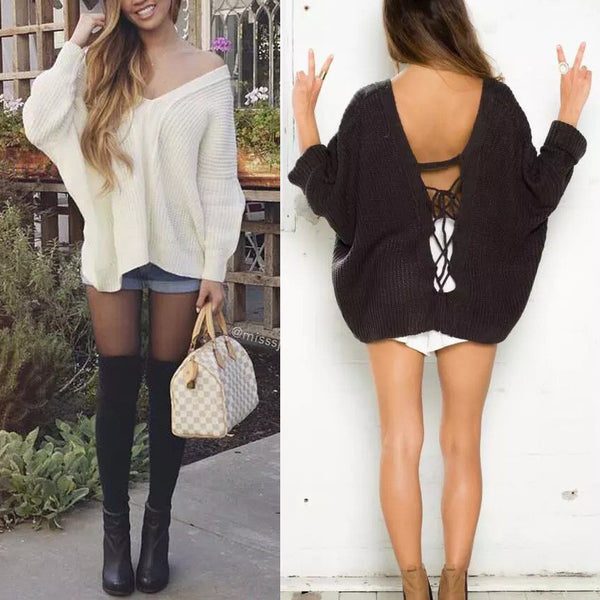 Sexy Fashion Loose Crochet Backless Strappy V-Neck Knit Sweater Top Pullover Knitwear