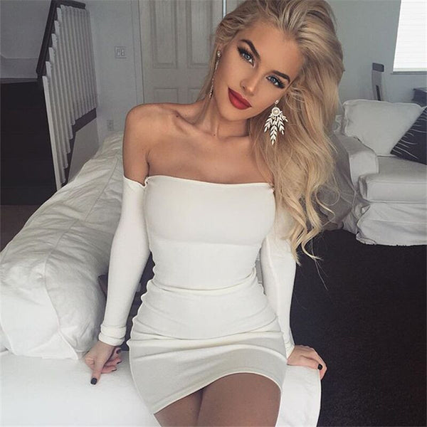 Sexy strapless Backless Bodycon offneck boat neck Mini Dress