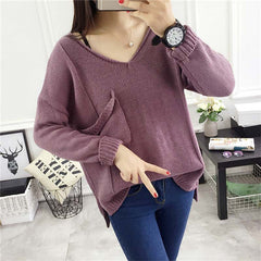 Casual Edgy Solid Color Hollow Ripped V-Neck loose blouse top  Sweater Pullover