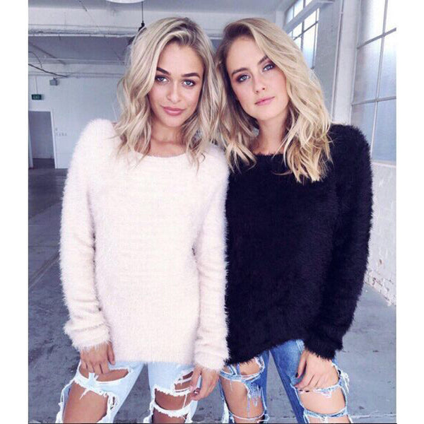 Simple Women Mohair Long Sleeve Scoop Neck  Top Sweater Pullover Knitwear
