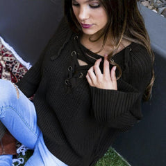Fashion Loose Bandage Lace up V Neck High Low Knit Sweater Pullover Top